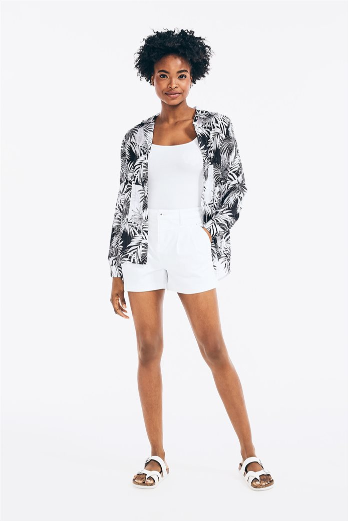 Nautica γυναικείο πουκάμισο σατινέ με all-over palm print 1