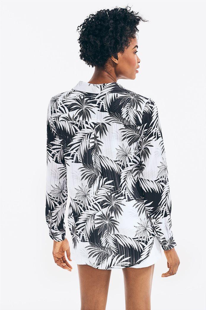 Nautica γυναικείο πουκάμισο σατινέ με all-over palm print 3