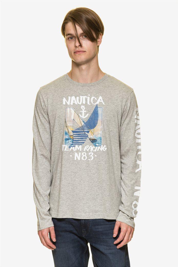 Nautica ανδρική μπλούζα μακρυμάνικη με prints 0
