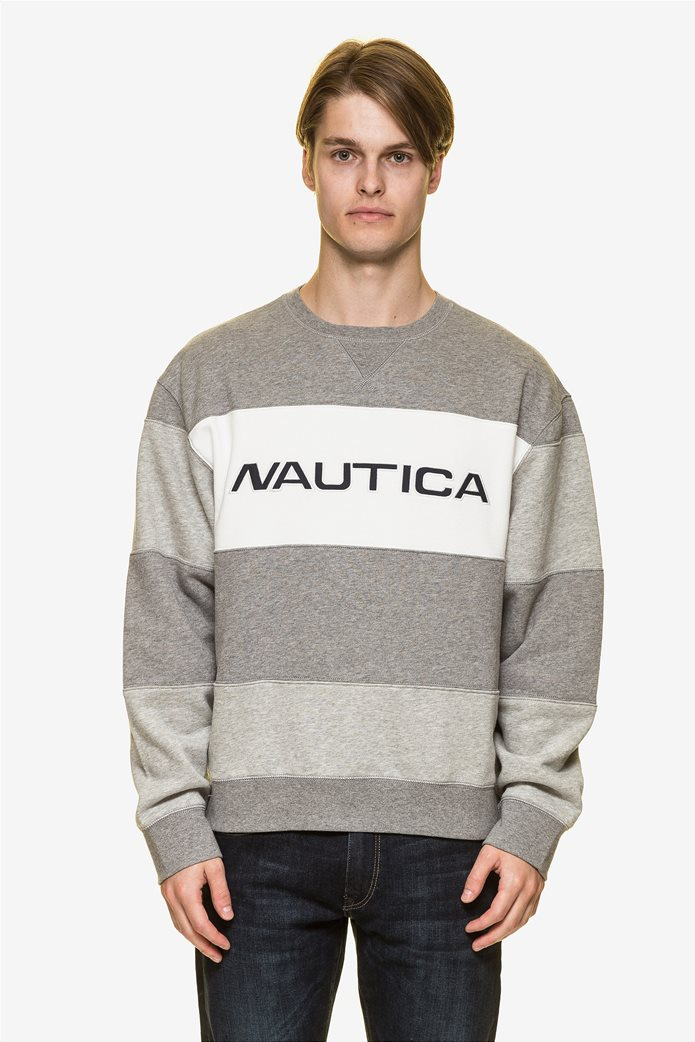 Nautica ανδρική μπλούζα φούτερ colourblocked με κεντημένο logo 1