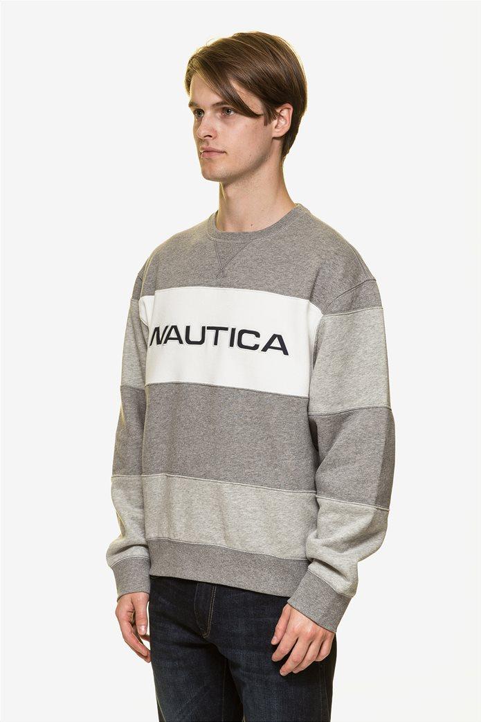 Nautica ανδρική μπλούζα φούτερ colourblocked με κεντημένο logo 2