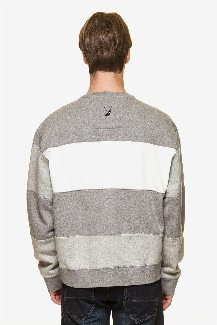Nautica ανδρική μπλούζα φούτερ colourblocked με κεντημένο logo 3