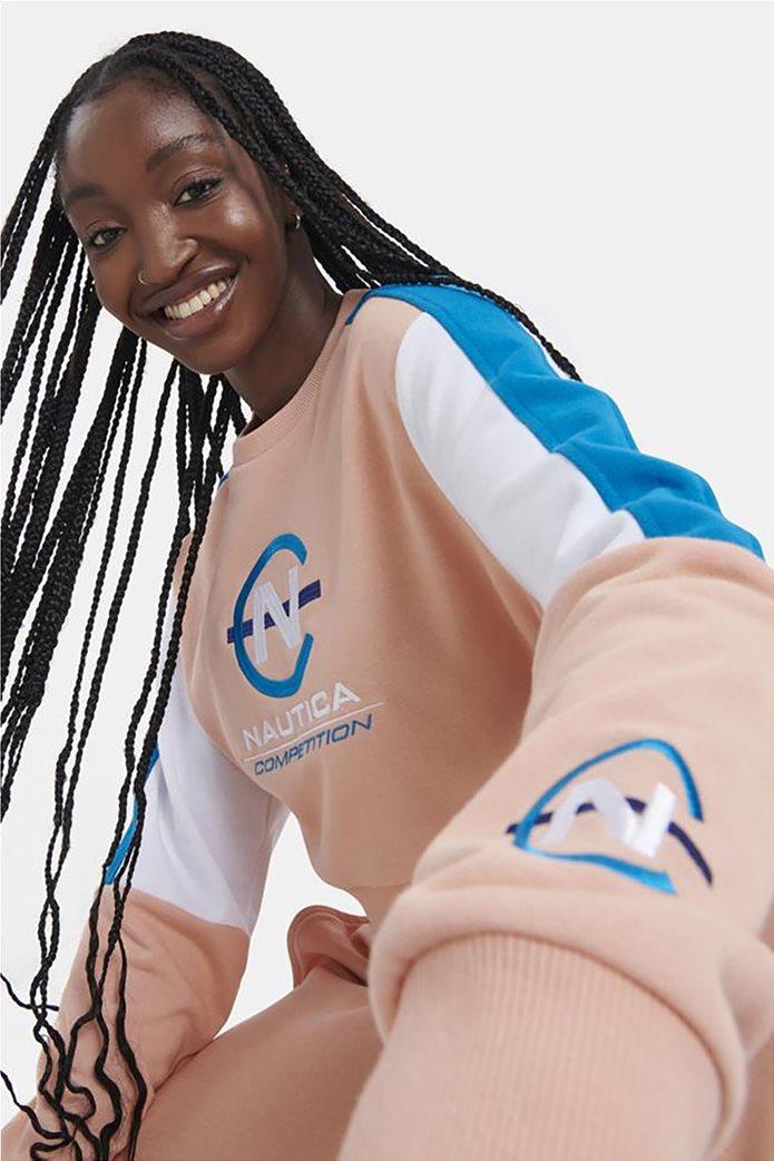 Nautica γυναικεία φούτερ μπλούζα με κεντημένο λογότυπο colourblocked Ροζ 1
