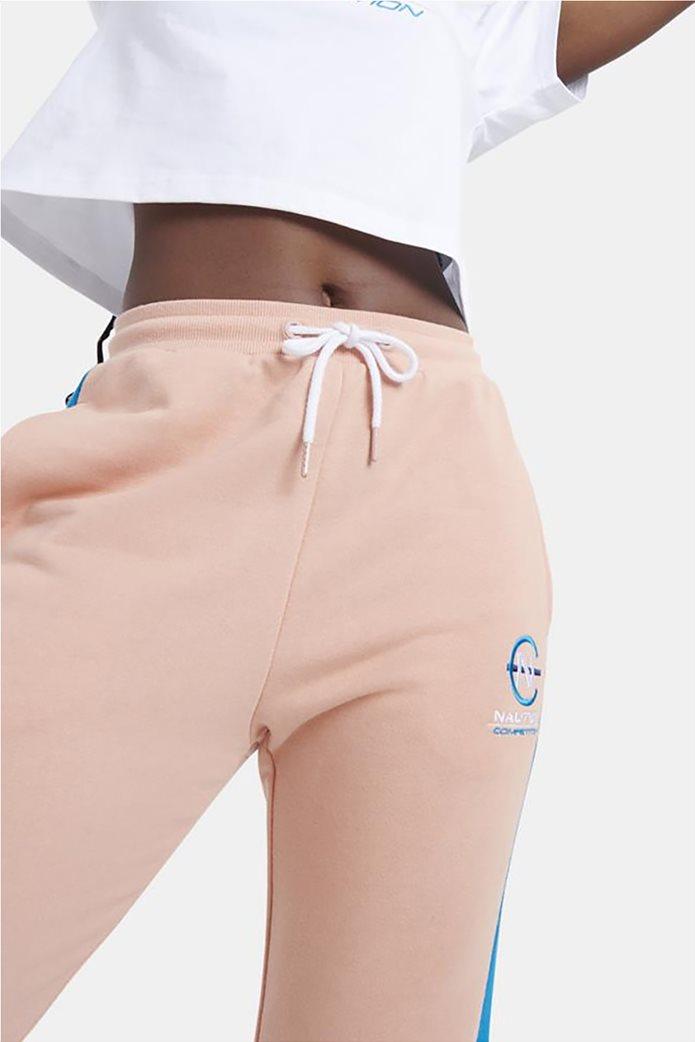Nautica γυναικείο παντελόνι φόρμας με ελαστική μέση και κεντημένο λογότυπο Ροζ 1