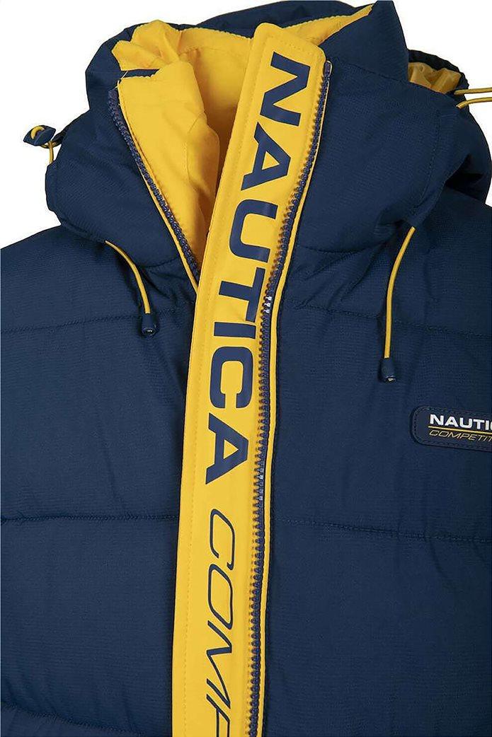 Nautica ανδρικό μπουφάν με καπιτονέ σχέδιο και κουκούλα Μπλε 3