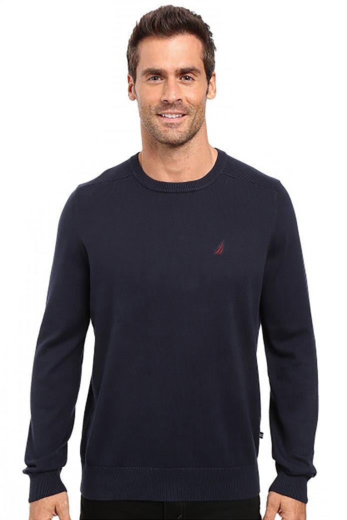 Nautica ανδρική πλεκτή μπλούζα μονόχρωμη με κεντημένο λογότυπο Μπλε Σκούρο 0