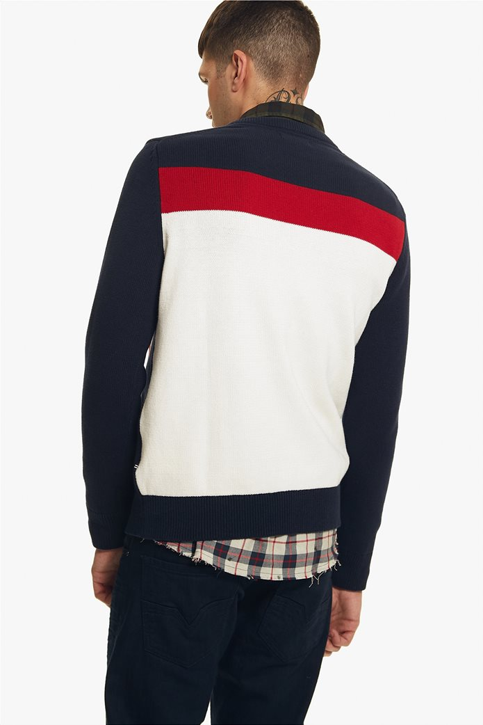 Νautica ανδρική πλεκτή μπλούζα με print και colorblock 3