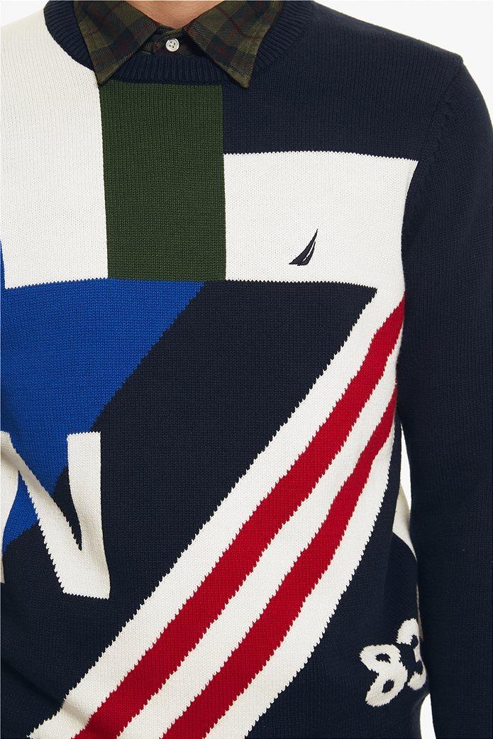 Νautica ανδρική πλεκτή μπλούζα με print και colorblock 4