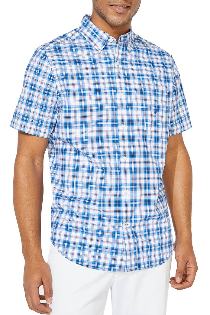 Nautica ανδρικό κοντομάνικο πουκάμισο καρό με τσέπη Γαλάζιο 0