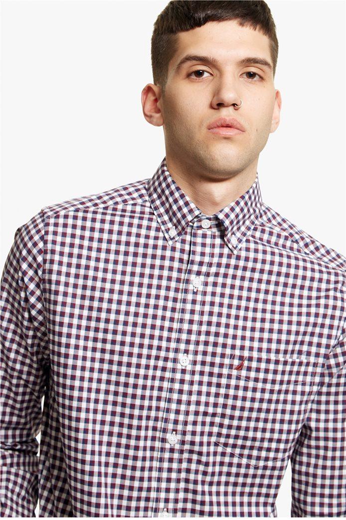 Νautica ανδρικό καρό πουκάμισο με μακρύ μανίκι 5