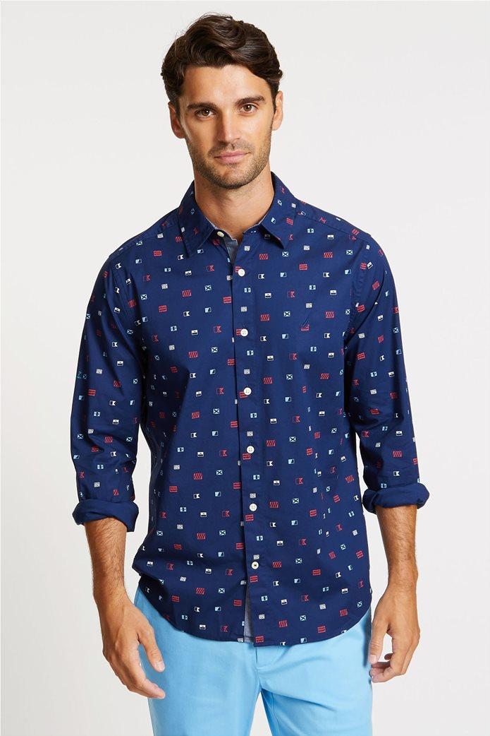 Nautica ανδρικό πουκάμισο μονόχρωμο με τσεπάκι 0