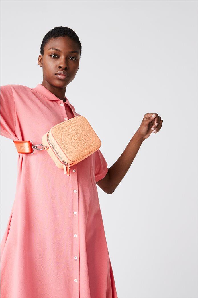 Lacoste γυναικεία crossbody τσάντα με ανάγλυφο λογότυπο Κοραλί 0