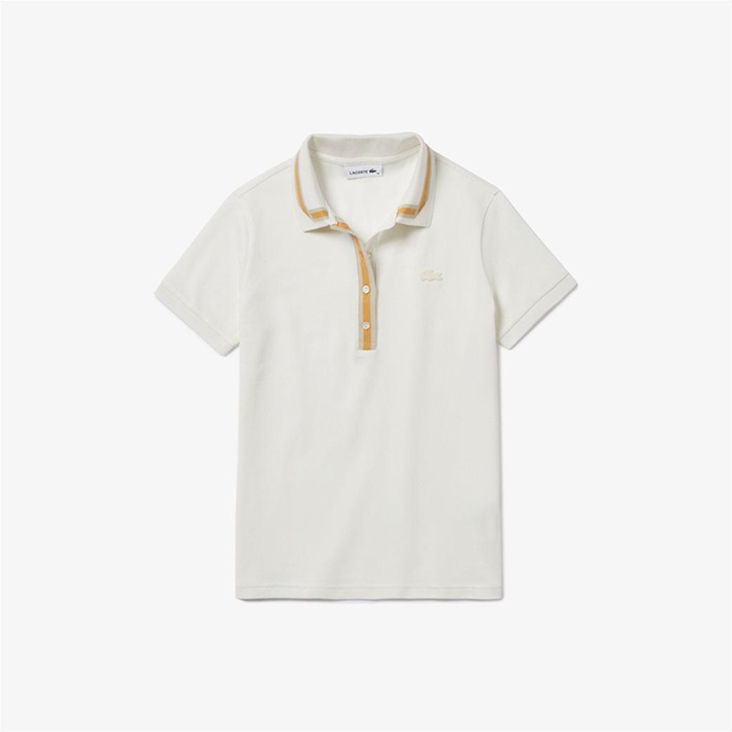 "Lacoste γυναικεία polo μπλούζα ""Contrast Stretch Cotton"" Εκρού 4"