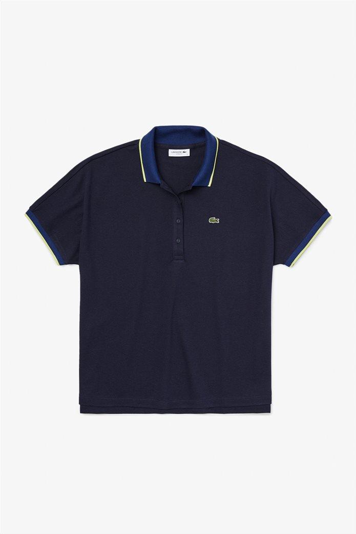 Lacoste γυναικεία polo μπλούζα με ριγέ λεπτομέρεια Relax Fit Μπλε Σκούρο 0