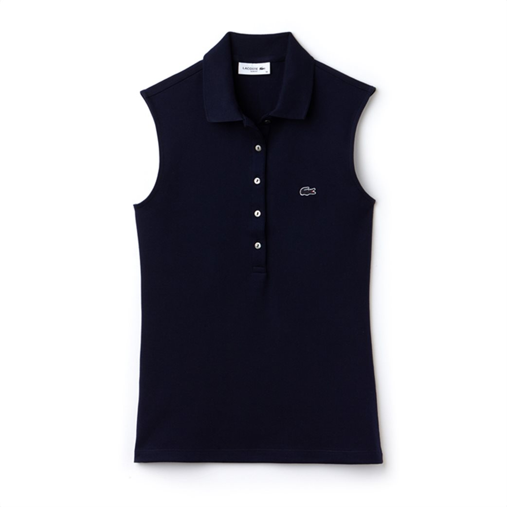 Lacoste γυναικεία μπλούζα πόλο πικέ αμάνικη 4