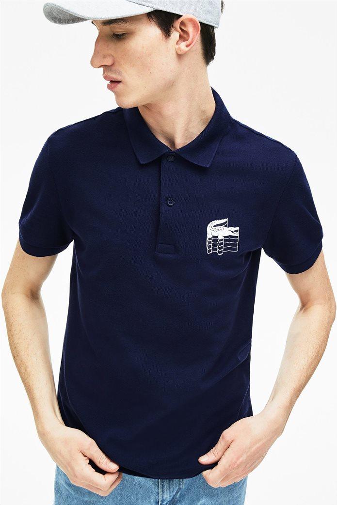 c01474fd4c3 LACOSTE | Lacoste ανδρική μπλούζα Polo μονόχρωμη 3D Croc Slim Fit Μπλε  Σκούρο | notos
