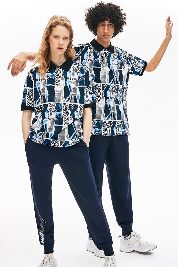 "Lacoste unisex polo μπλούζα ""Loose Fit Graphic Print"" Μπλε Σκούρο 0"