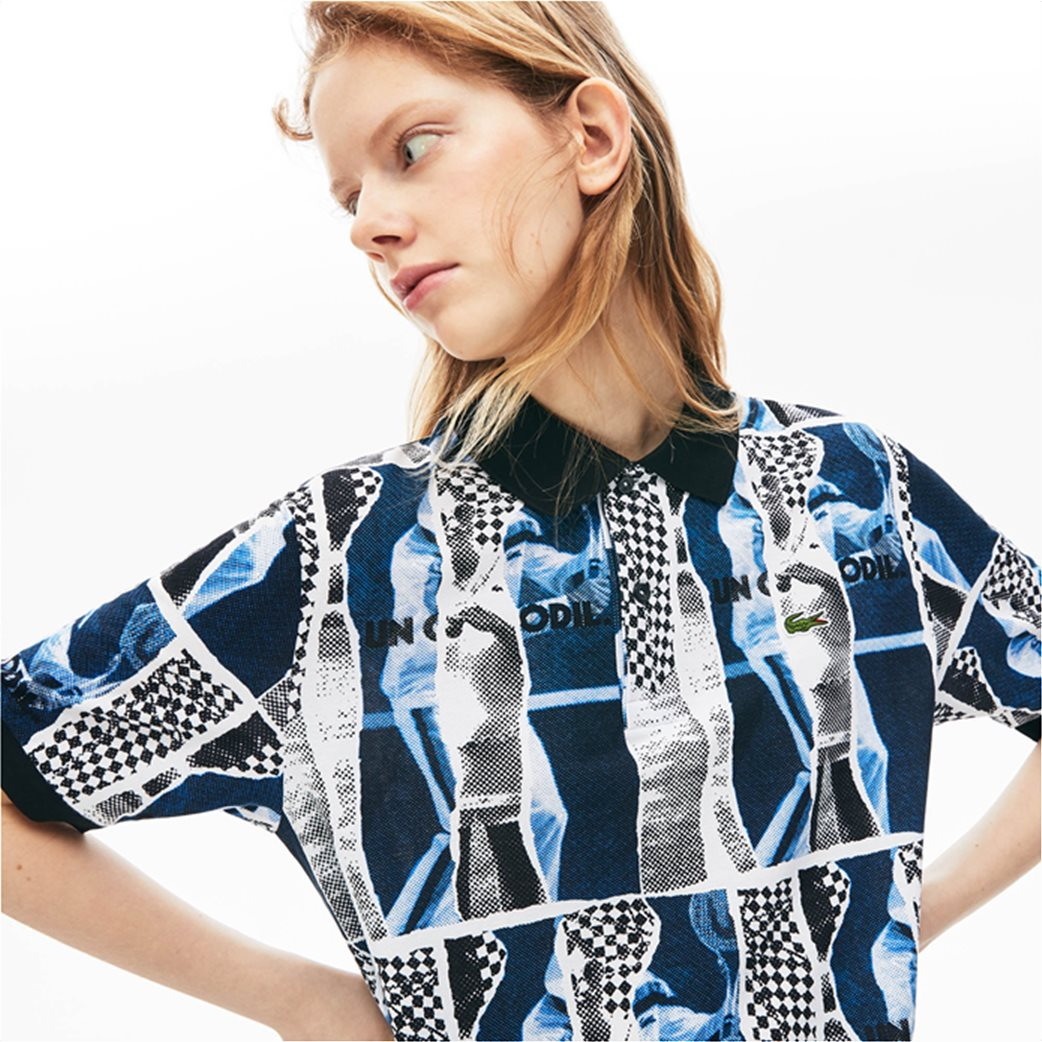 "Lacoste unisex polo μπλούζα ""Loose Fit Graphic Print"" Μπλε Σκούρο 4"