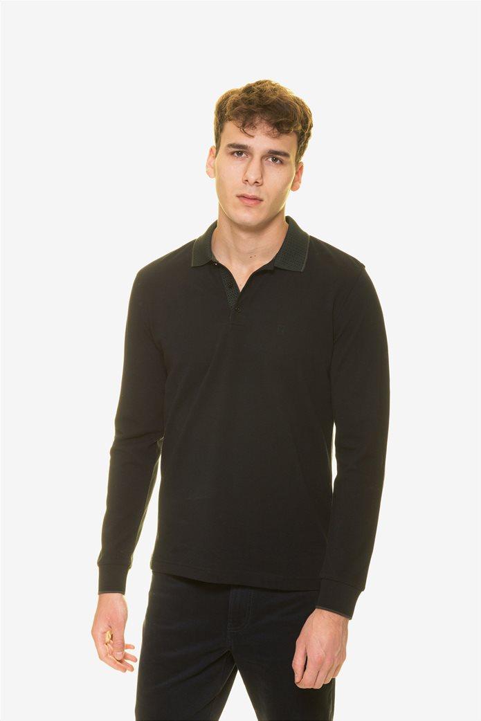 The Bostonians ανδρική μπλούζα πόλο με μικροσχέδιο στον γιακά 0