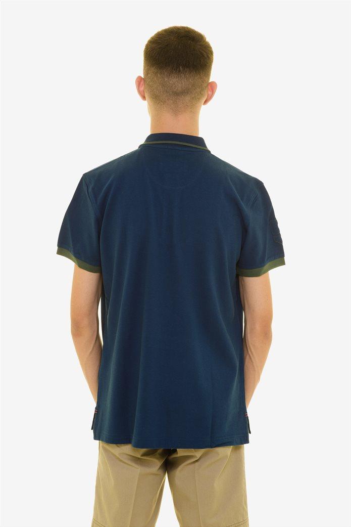 The Bostonians ανδρική πόλο μπλούζα με ρίγα στο γιακά Μπλε Σκούρο 3
