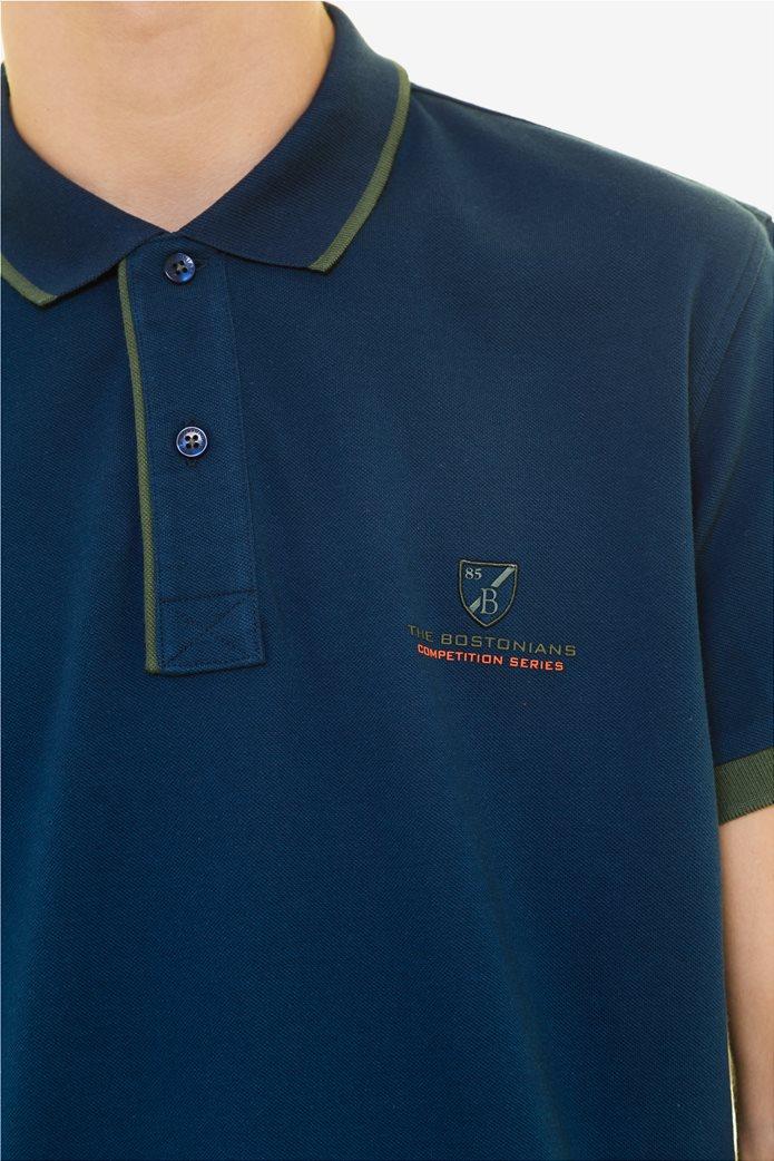 The Bostonians ανδρική πόλο μπλούζα με ρίγα στο γιακά Μπλε Σκούρο 4