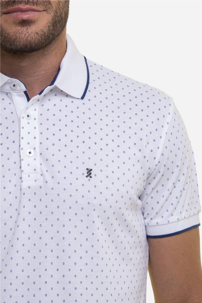 The Bostonians ανδρική μπλούζα πόλο με πουά μικροσχέδιο Μπλε Σκούρο 1