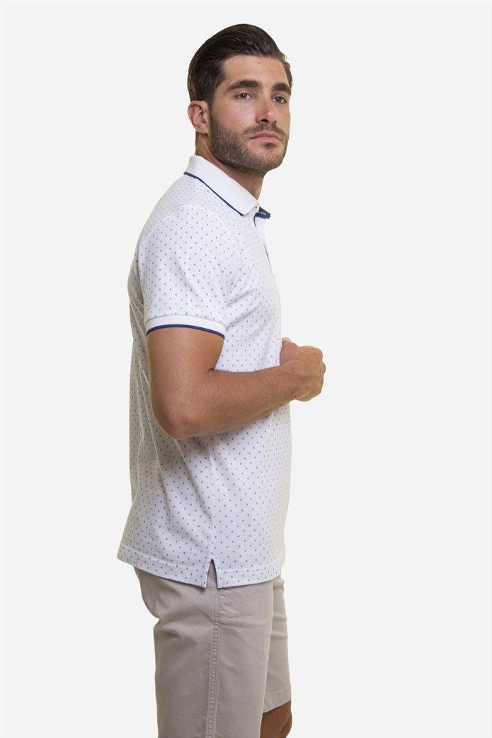 The Bostonians ανδρική μπλούζα πόλο με πουά μικροσχέδιο Μπλε Σκούρο 3