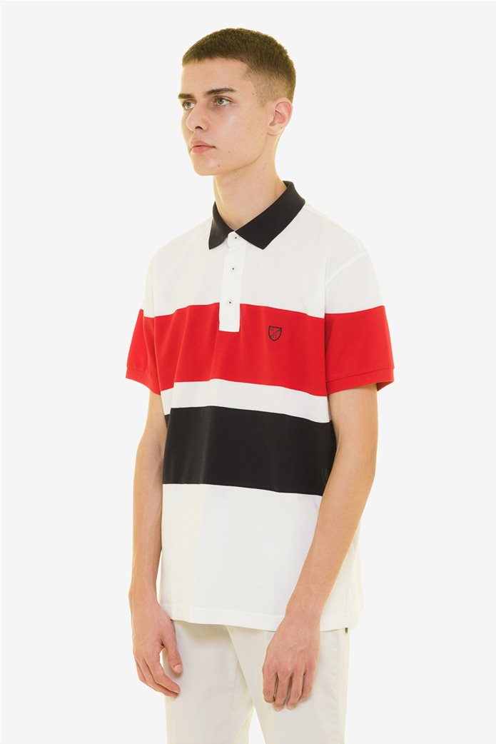 The Bostonians ανδρική πόλο μπλούζα colοurblocked Κόκκινο 2