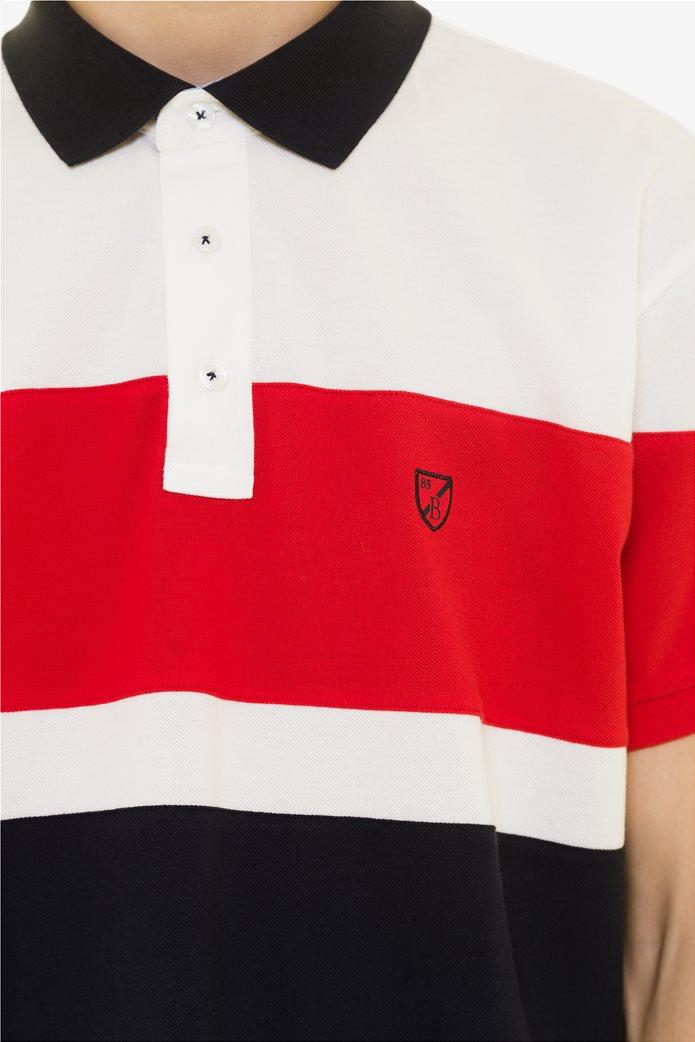 The Bostonians ανδρική πόλο μπλούζα colοurblocked Κόκκινο 4