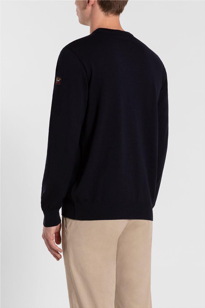 Paul&Shark ανδρική πλεκτή μπλούζα με logo patch μονόχρωμη (3XL) Μπλε Σκούρο 2