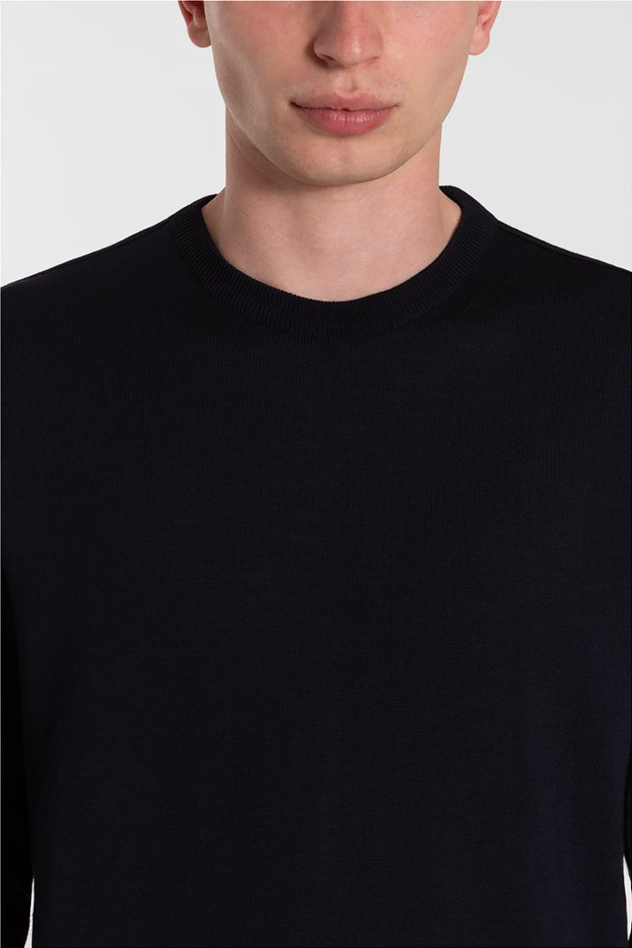 Paul&Shark ανδρική πλεκτή μπλούζα με logo patch μονόχρωμη (3XL) Μπλε Σκούρο 3
