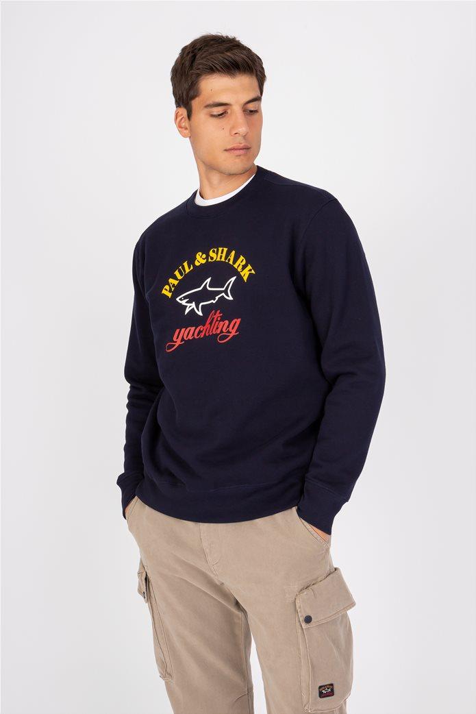 Paul&Shark ανδρική μπλούζα φούτερ με rubber logo Σκούρο Μπλε 0