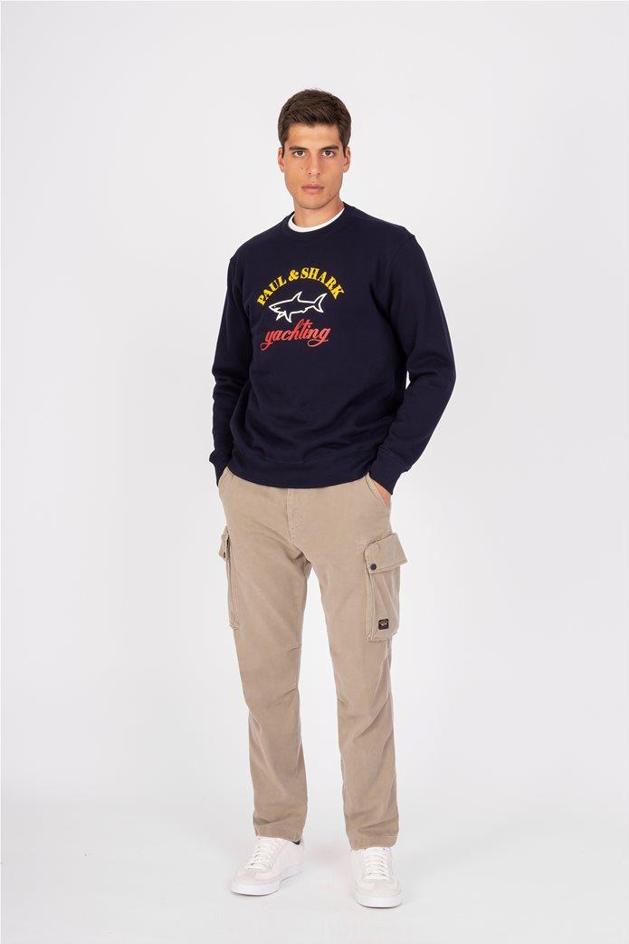 Paul&Shark ανδρική μπλούζα φούτερ με rubber logo Σκούρο Μπλε 3