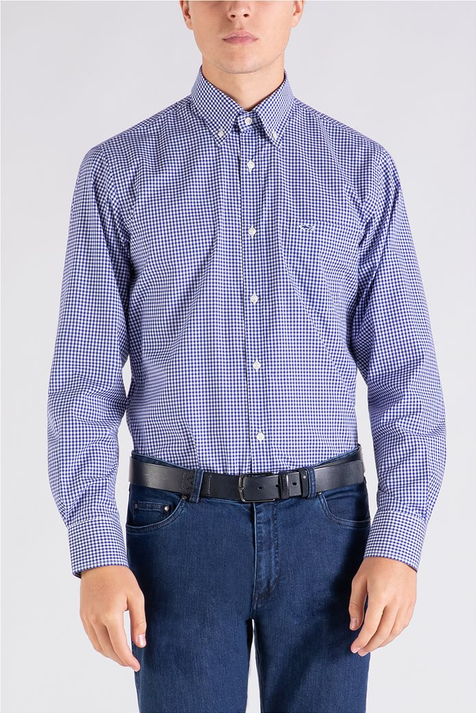 Paul&Shark ανδρικό πουκάμισο καρό με κεντημένο λογότυπο Μπλε 0