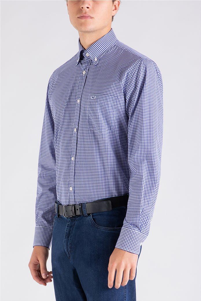 Paul&Shark ανδρικό πουκάμισο καρό με κεντημένο λογότυπο Μπλε 1