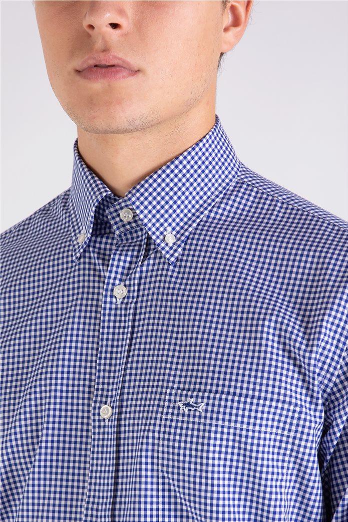 Paul&Shark ανδρικό πουκάμισο καρό με κεντημένο λογότυπο Μπλε 4