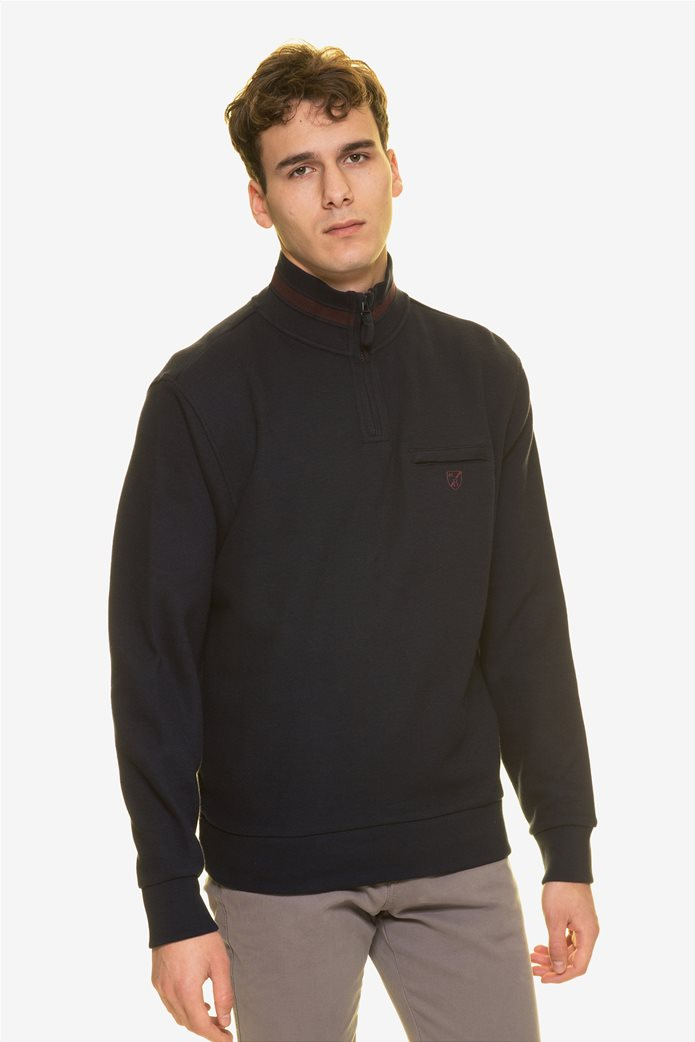The Bostonians ανδρική μπλούζα φούτερ με φερμουάρ 3/4 0