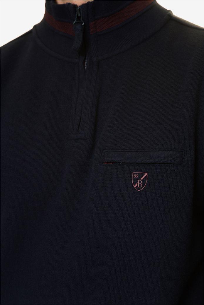 The Bostonians ανδρική μπλούζα φούτερ με φερμουάρ 3/4 4