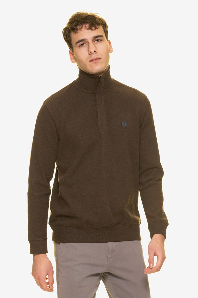 The Bostonians ανδρική πλεκτή μπλούζα με φερμουάρ ¾ 0