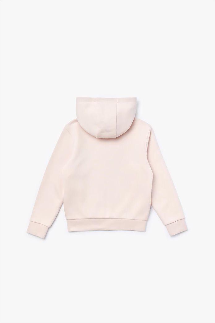 Lacosteπαιδικήζακέτα φούτερ μονόχρωμη με κουκούλα Ροζ 1