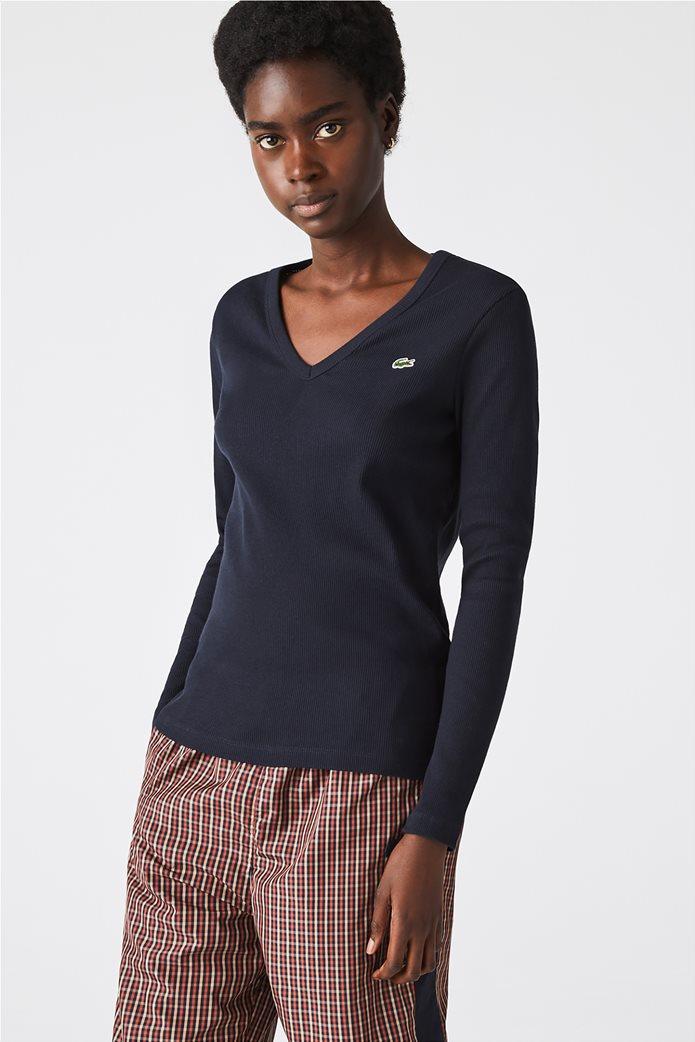 Lacoste γυναικεία ribbed μπλούζα με V λαιμόκομψη Μπλε Σκούρο 0