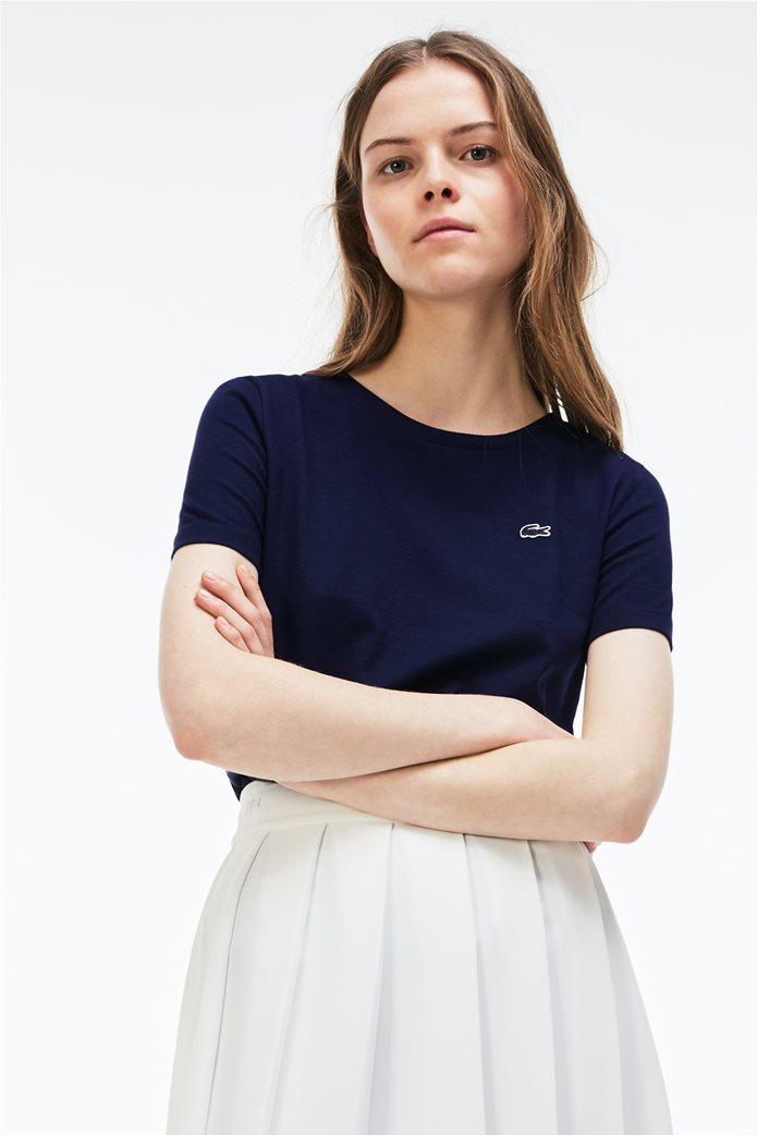 Γυναικείο T-shirt μονόχρωμο με στρογγυλή λαιμόκοψη  Lacoste 0