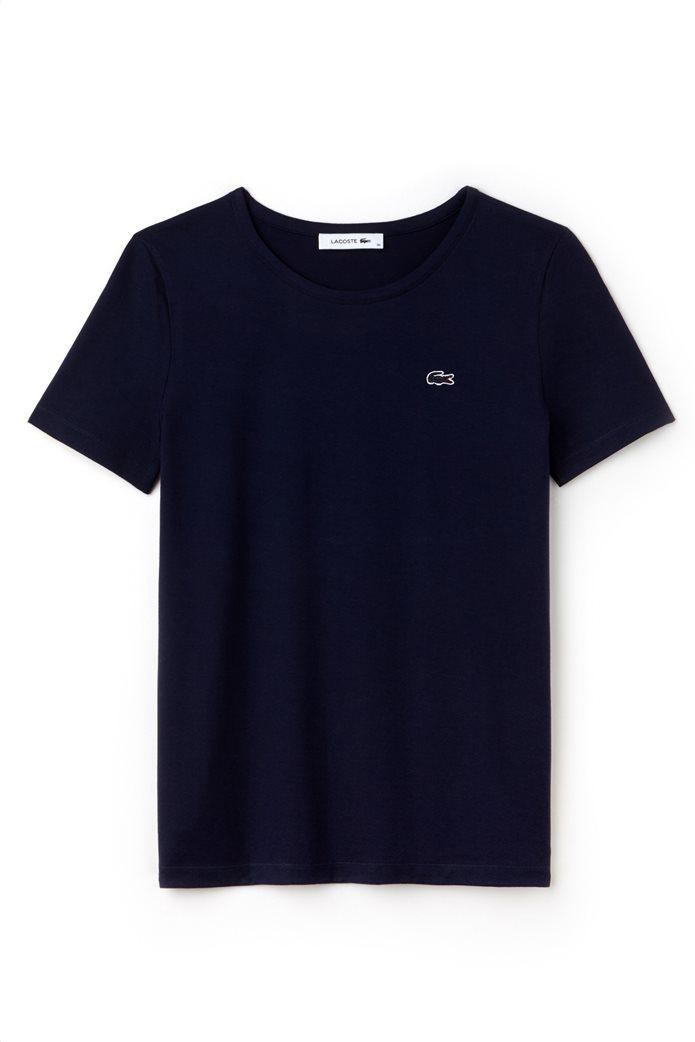 Γυναικείο T-shirt μονόχρωμο με στρογγυλή λαιμόκοψη  Lacoste 2