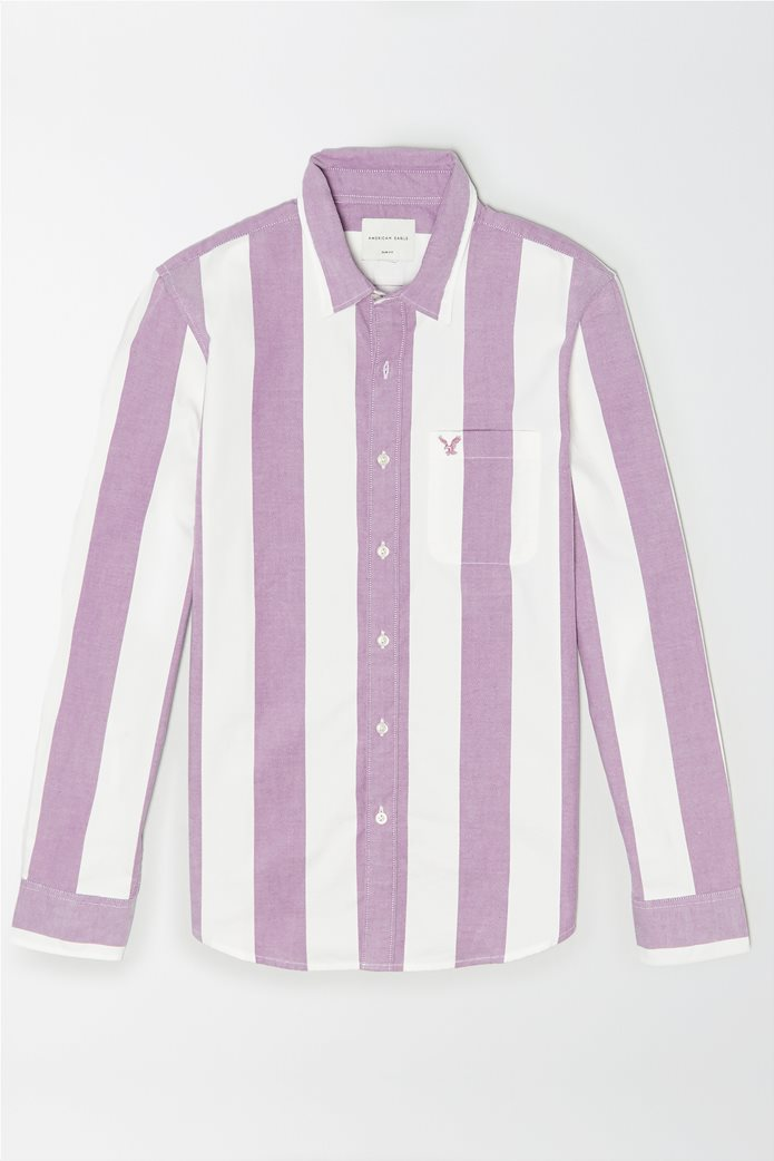 AE Striped Oxford Button-Up Shirt Μοβ 0