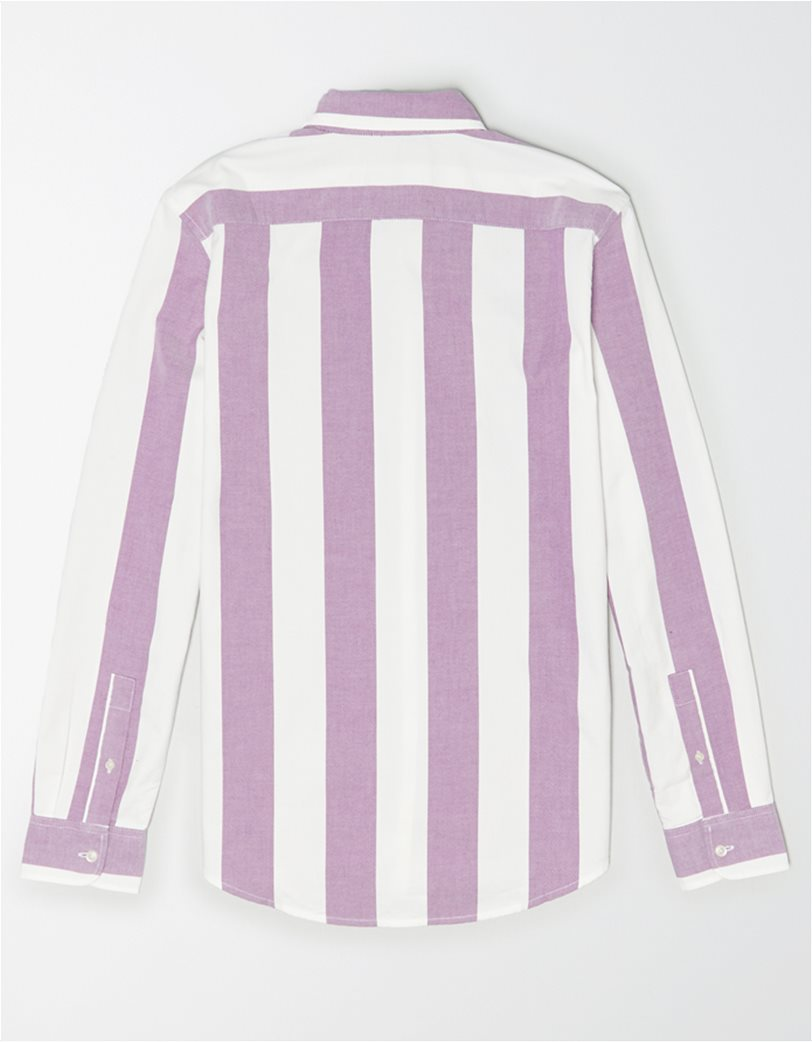 AE Striped Oxford Button-Up Shirt Μοβ 1
