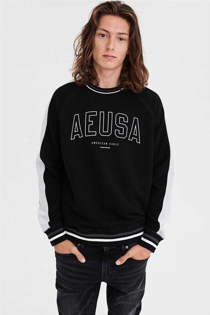 AE Reflective Graphic Crew Neck Sweatshirt 0
