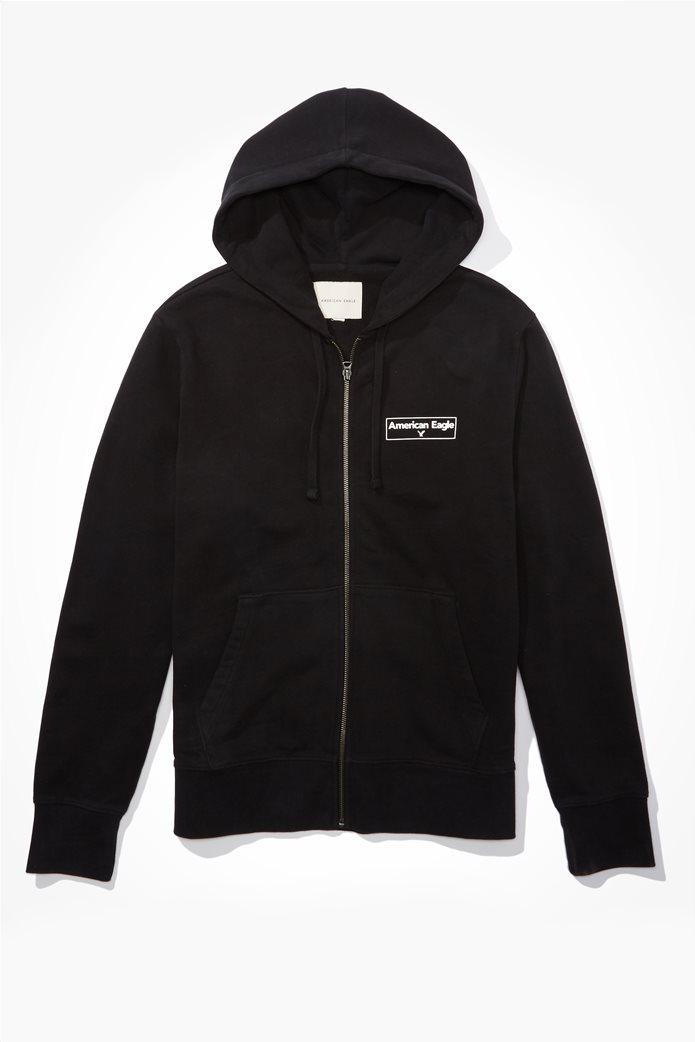 AE Branded Zip-Up Hoodie Μαύρο 0