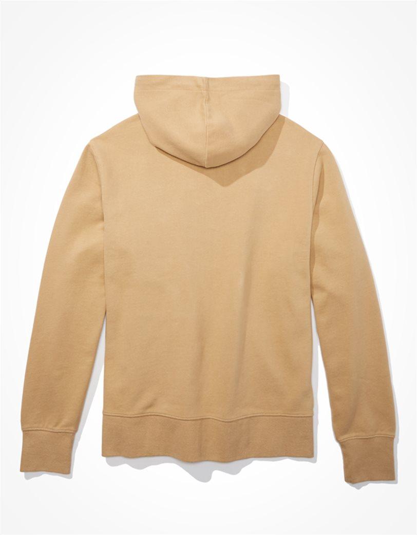AE Branded Zip-Up Hoodie Μπεζ 1