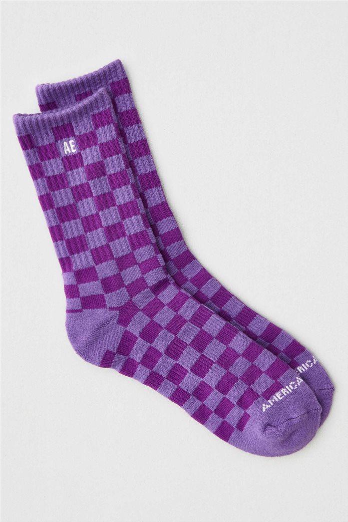 AEO Checkered Crew Sock Μοβ 0