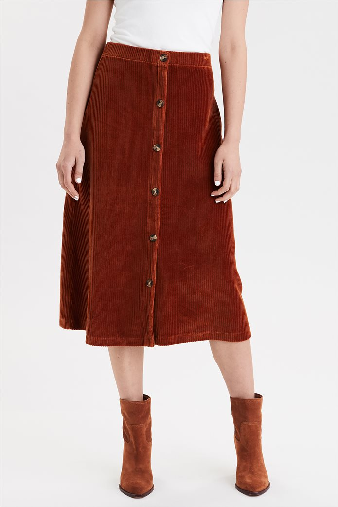 AE High-Waisted Corduroy Button Front Midi Skirt 0